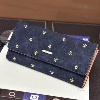 Metal Snap Closure Embroidery Wallet -  DEEP BLUE