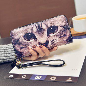 Cat Printed Top Zipper Wristlet Wallet