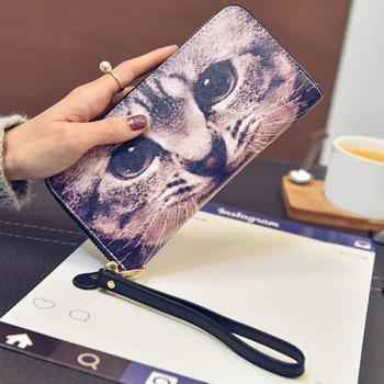 Cat Printed Top Zipper Wristlet Wallet -  COLORMIX