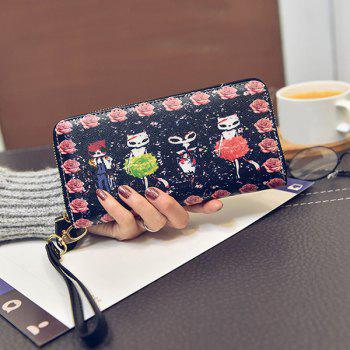 Zipper Flower and Cartoon Printed Wallet