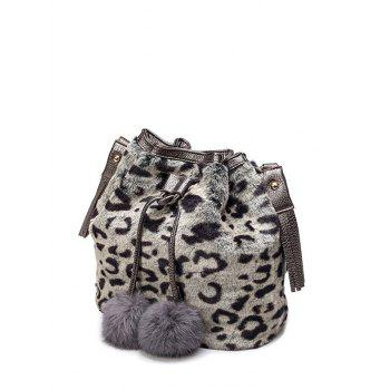 Faux Fur Pompon Leopard Bucket Bag