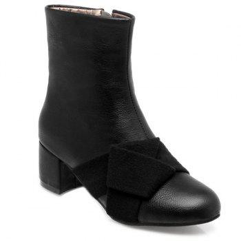 Mid Heel Woolen Panel Short Boots - BLACK BLACK