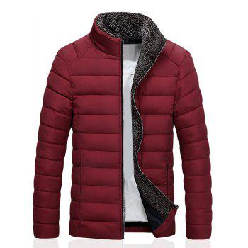 Stand Collar Zipper Up Quilted Jacket