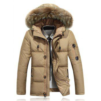 Quilted Zipper Up Jacket with Fur Trim Hood