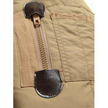 Quilted Zipper Up Jacket with Fur Trim Hood - KHAKI M