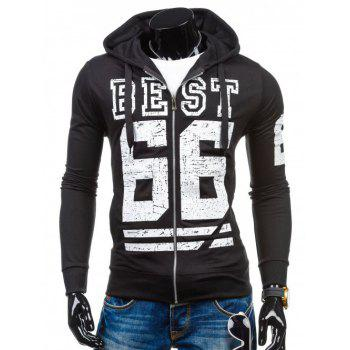 Drawstring Number Print Zip Up Hoodie