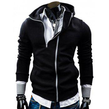 Zippered Long Sleeve Pocket Hoodie