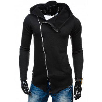 Asymmetrical Zip Up Long Sleeve Plain Hoodie