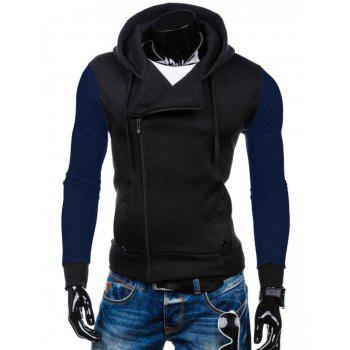 Two Tone Pocket Side Zip Up Hoodie