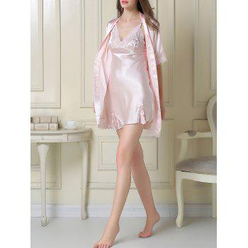 Satin Slip Dress and Robe - LIGHT PINK XL