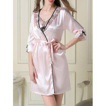 Contrast Trim Satin Slip Dress and Robe