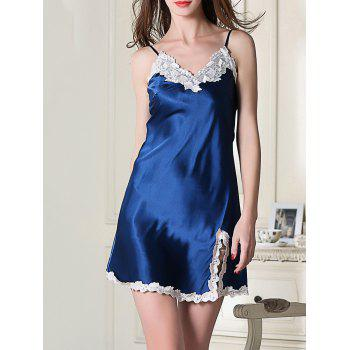 Contrast Lace Slip Sleep Silk Dress