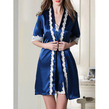 Satin Short Slip Dress and Belted Robe