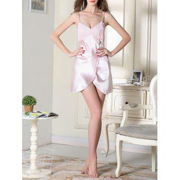 Satin Slip Lace Panel Sleep Dress - PINK XL
