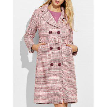 Button Down Checked Coat with Belt
