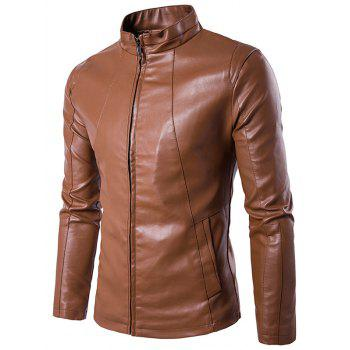 Stand Collar PU Leather Zipper Design Jacket