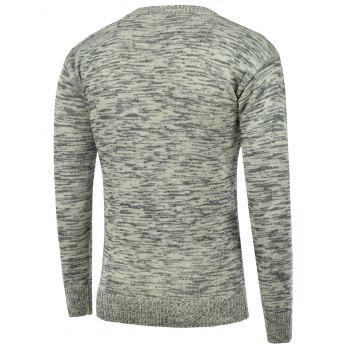 Space Dye Crew Neck Pullover Sweater - GRAY 2XL