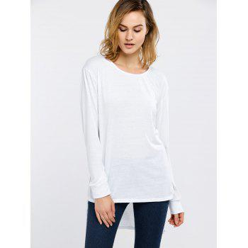 Side Slit High Low Long Sleeve T-Shirt - WHITE L