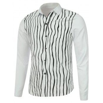 Vertical Striped Long Sleeve Button Up Shirt - WHITE WHITE