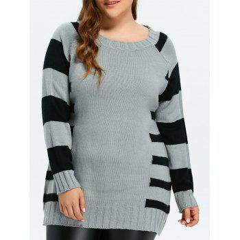 Pullover Striped Crew Neck Sweater