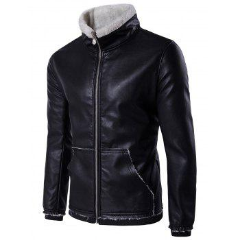 Flocking Zip Up Pocket Faux Leather Jacket