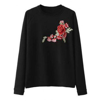Raglan Sleeve Embroidered Sweatshirt