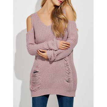 Ripped Cold Shoulder Ribbed Sweater