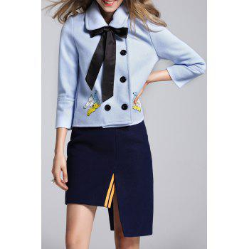 Polo Collar Embroidered Coat and Asymmetric Skirt