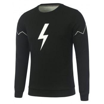Flocking Zigzag Lightning Symbol Print Crew Neck Sweatshirt
