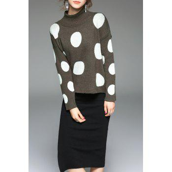 Mock Neck Polka Dot Sweater and Slit Knit Skirt