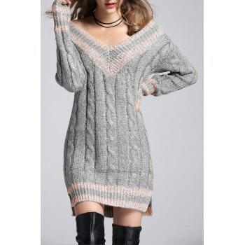 V Back Mini Cable Knit Dress