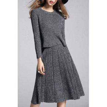 Marled Knit Sweater and A Line Skirt