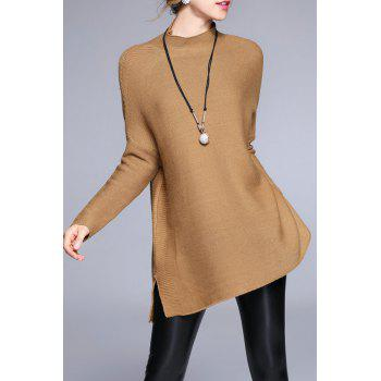 High Neck Sweater With Batwing Sleeve