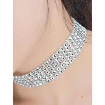 Multi Layered Plastic Beading Choker Necklace