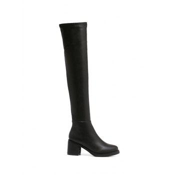Zipper Round Toe Platform Thigh Boots