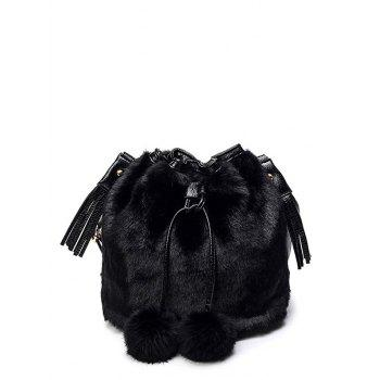 Faux Fur Pompon Tassel Bucket Bag