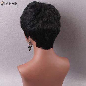 Women's Stylish Short Inclined Bang Human Hair Wig - JET BLACK