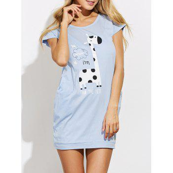 Casual Cartoon Print Sleep T Shirt Dress