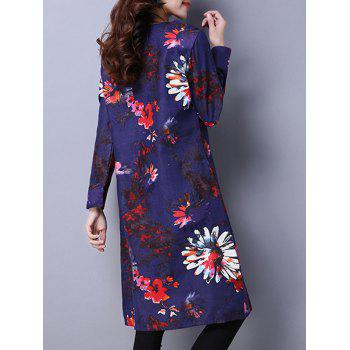 Floral Print Dress with Pockets - BLUE M