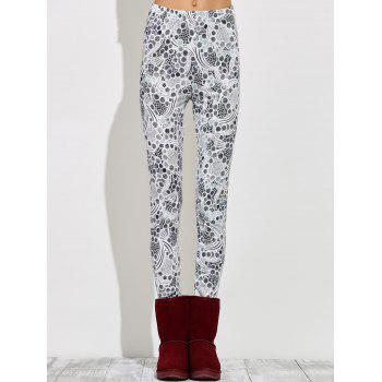 High Waisted Skinny Print Leggings - GRAY S