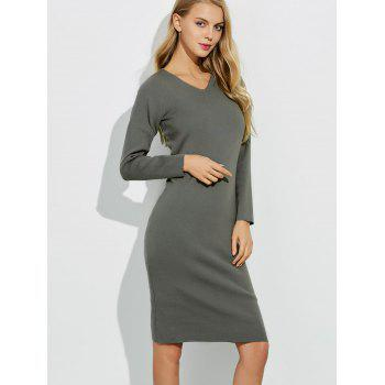 Midi Jumper V Neck Sheath Dress - GRAY L