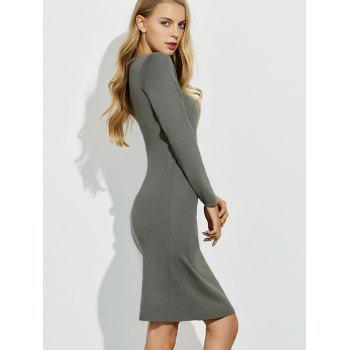 Midi Jumper V Neck Sheath Dress - GRAY XL