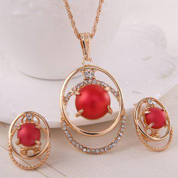 Bead Rhinestone Necklace with Earrings - RED