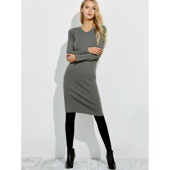 Midi Jumper V Neck Sheath Dress - GRAY 2XL