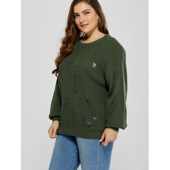 Plus Size Ripped Crew Neck Ribbed Sweater - BLACKISH GREEN 2XL