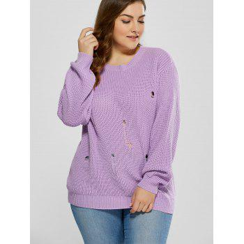 Plus Size Ripped Crew Neck Ribbed Sweater - PURPLE XL