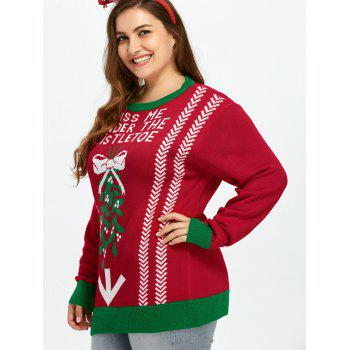 Plus Size Letters Zig Zag Pattern Sweater - RED 3XL