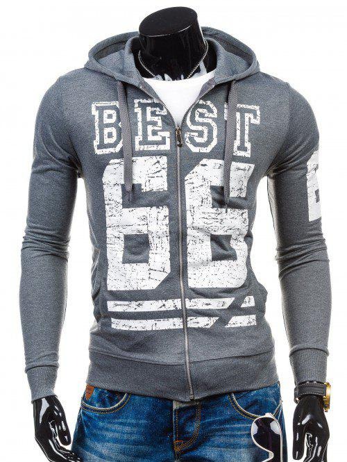 Drawstring Number Print Zip Up Hoodie - GRAY XL