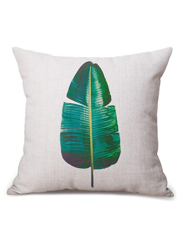 Banana Leaf Printed Linen Chair Backrest Throw PillowcaseHome<br><br><br>Color: BEIGE