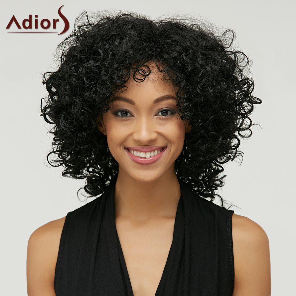 Adiors Medium Inclined Bang Afro Curly Synthetic WigHair<br><br><br>Color: BLACK